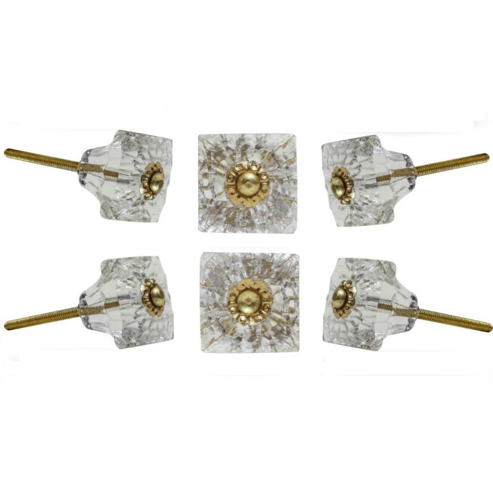 Set of Six Mammounia Glass Square Knob Multipack / Finish: Clear