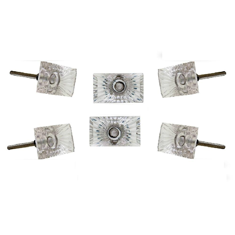 Set of Six Amenja Glass Bar Knob Multipack / Finish: Clear