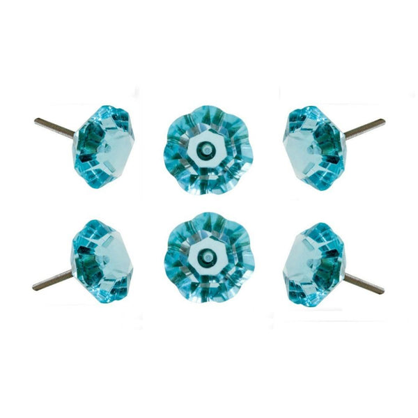 Set of Six Taos Glass Novelty Knob Multipack / Finish: Aqua