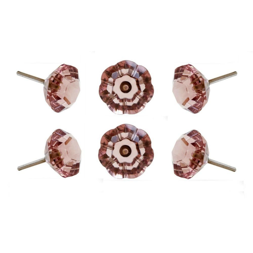 Set of Six Taos Glass Novelty Knob Multipack / Finish: Rosy Brown
