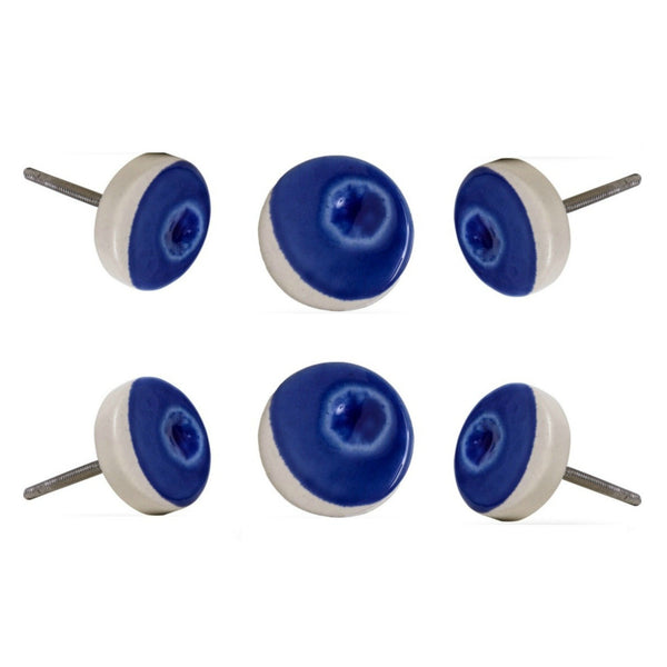 Set of Six Ceramic Double Vison Knobs Dark Blue