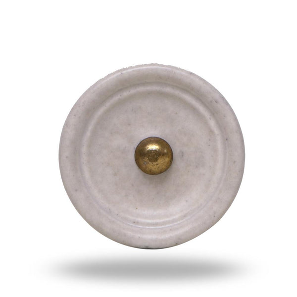 Set of  6 Ceramic Trefor Knobs White