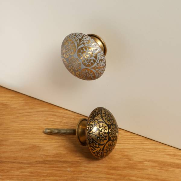 Metal Etched Grey Mehndi  Knob  Set of Six