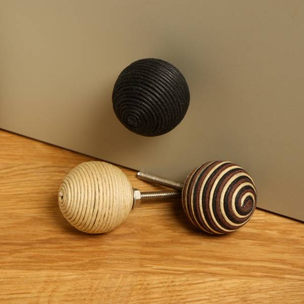 Black Knob Set of Six Cord Spiral Terence