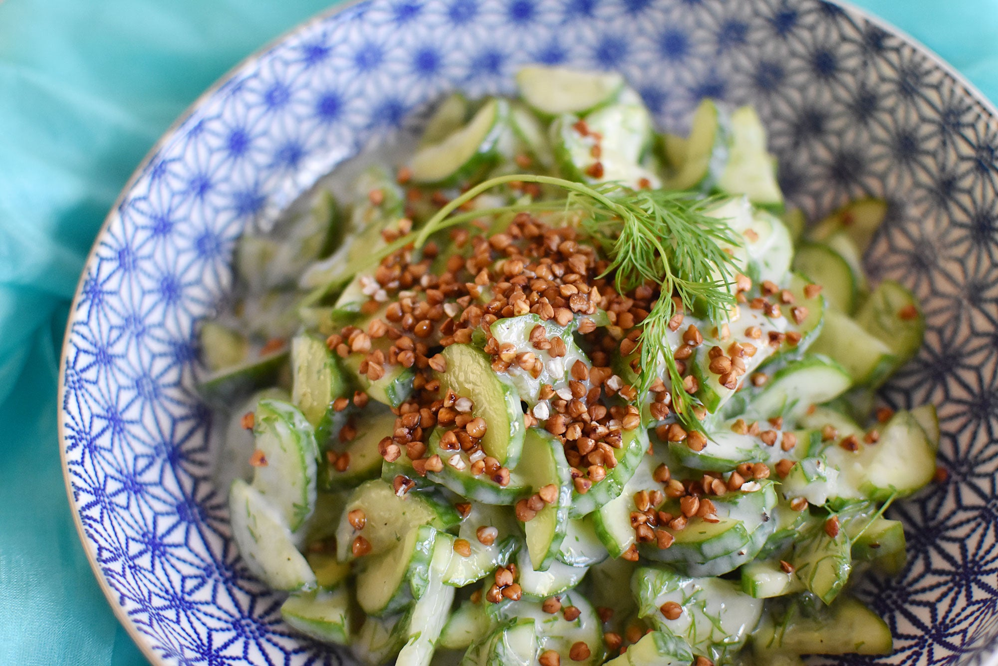 Cucumber Dill Salad with Crunchy Buckwheat Groats