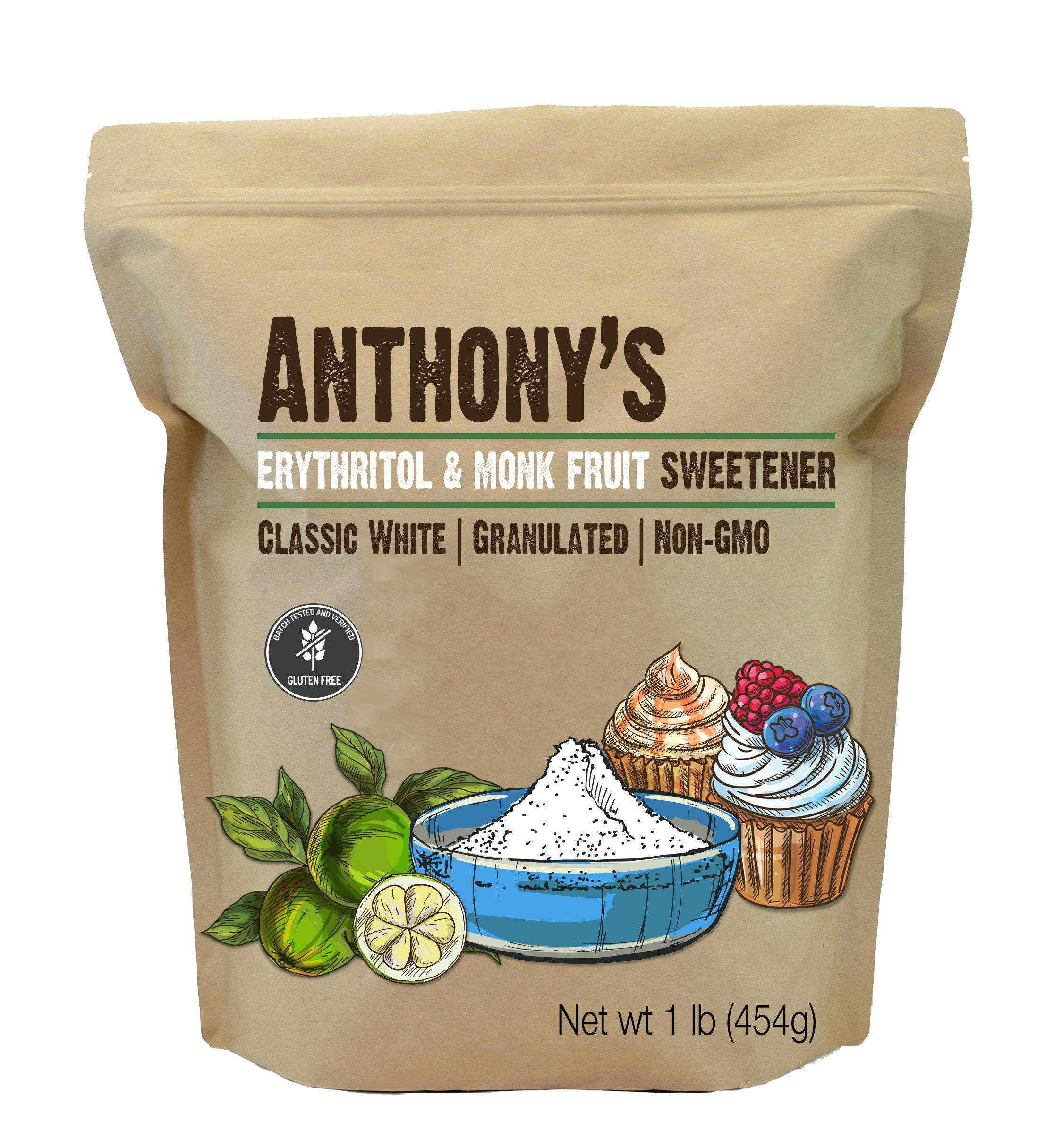 Erythritol and Monk Fruit Sweetener: Granulated, 1:1 Sugar Substitute, Non-GMO