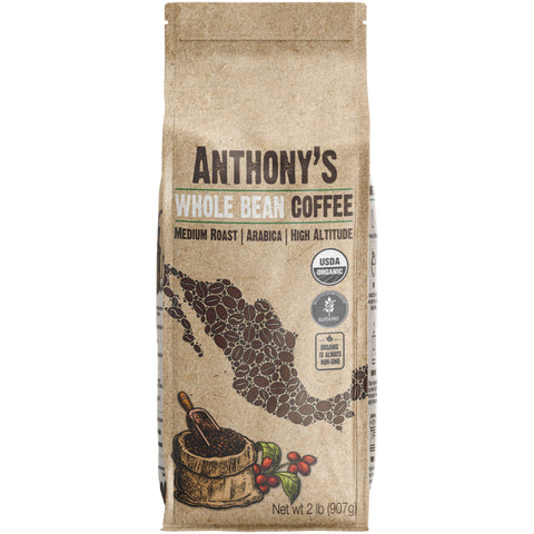 Organic Whole Bean Coffee: Mexican Altura Arabica Beans, Medium Roast, Batch Tested Gluten Free