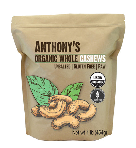 Whole Cashews: USDA Organic & Batch Tested Gluten Free
