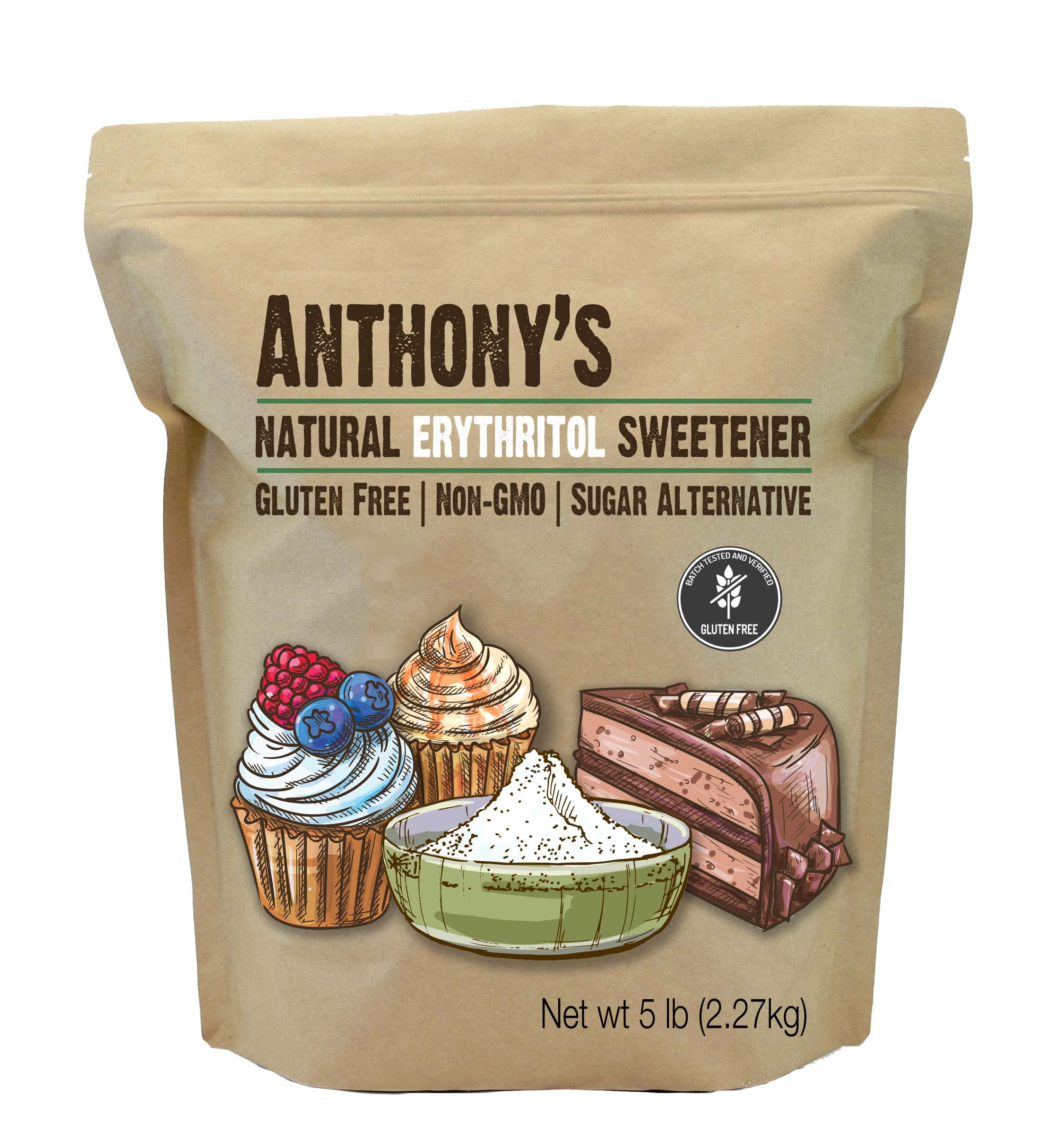 Erythritol Sweetener: Batch Tested & Verified Gluten-Free, Non-GMO, Natural Sweetener