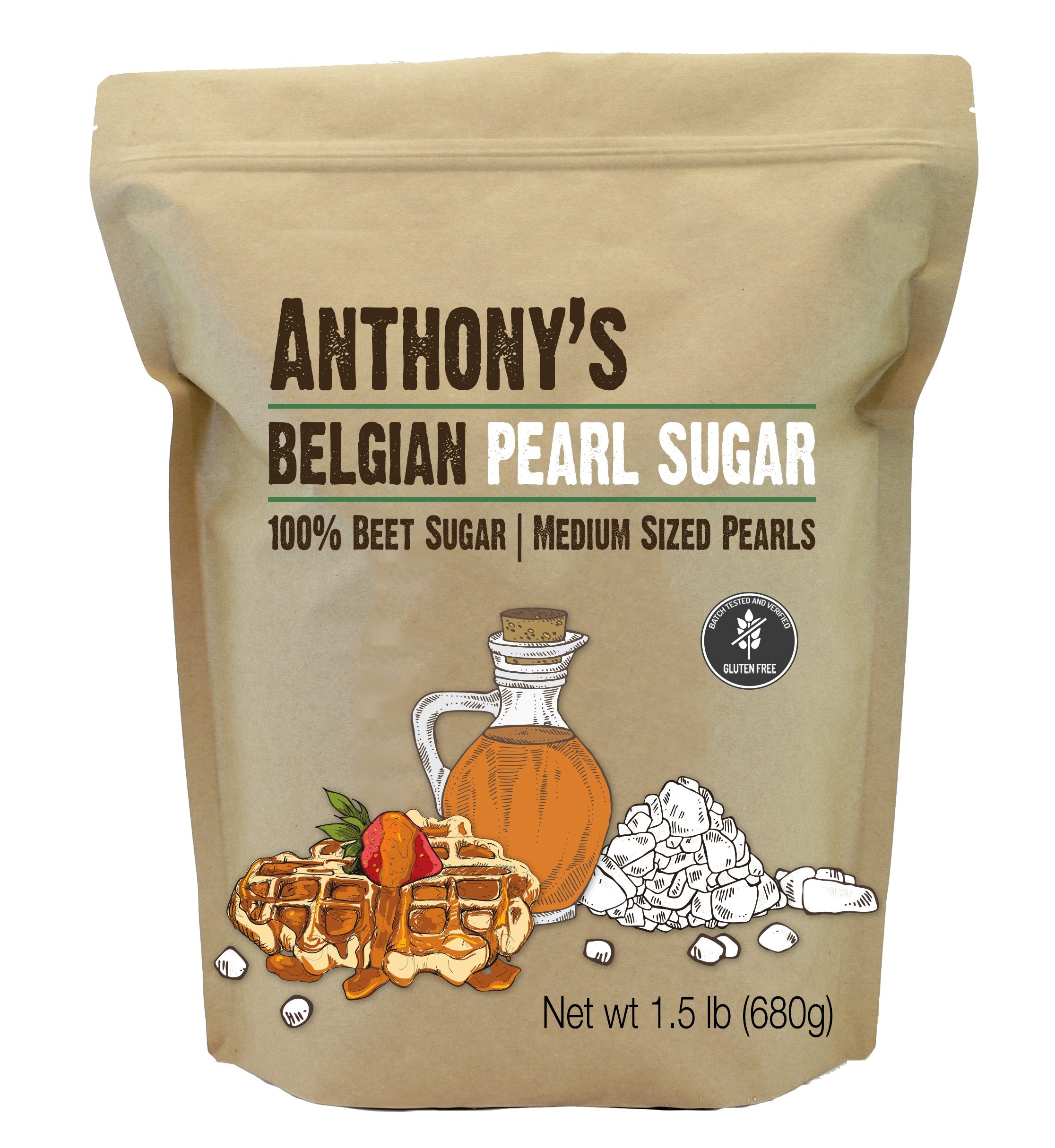 Belgian Pearl Sugar: Batch Tested and Verified Gluten Free, Medium Sized Pearls