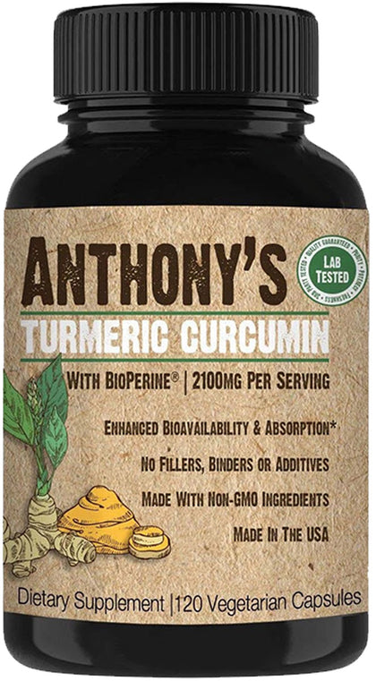 Turmeric Curcumin Supplement: 120 Veggie Capsules, 2100mg per Serving