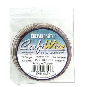 BeadSmith   1/2 Round Wire   Antique Copper        18/21gauge