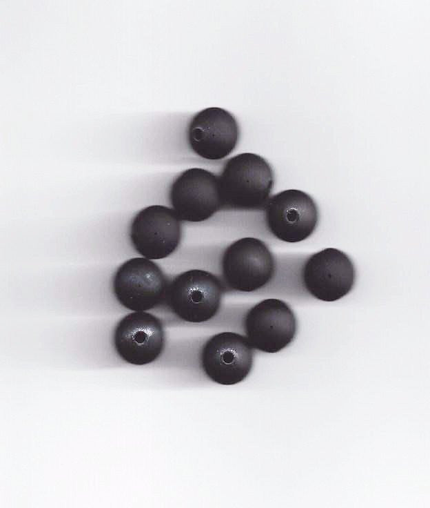 Beads - Satin Rubber Beads Black