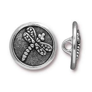 Button Dragon Fly TierraCast Silver