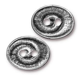Button - Button Swirl  TierraCast Antique Silver