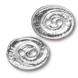Button - Button Swirl  TierraCast  Silver