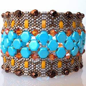 Honeycomb Cobble Tile Cuff Bracelet