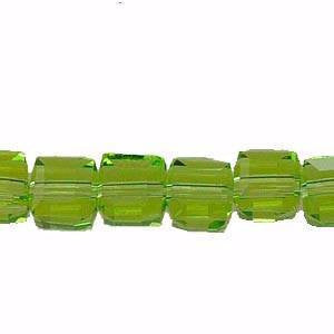Crystal Cube Beads     Chrysolite     4x4