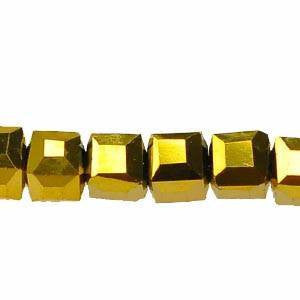 Crystal - Cube  Beads    Gold      4x4
