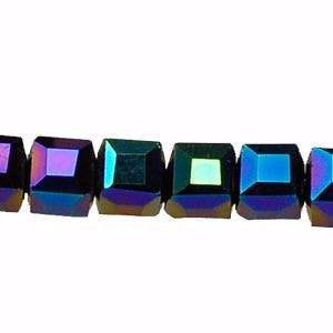 Crystal Cube Beads     Green Light      4x4