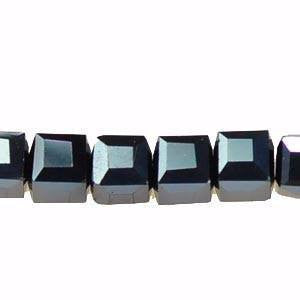 Crystal Cube  Beads    Gun Metal       4x4