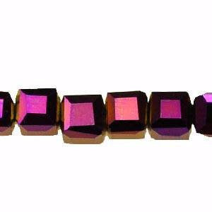 Crystal Cube Beads  Purple Light     4x4