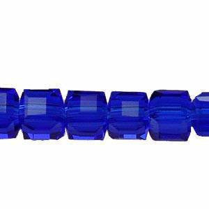 Crystal  Cube Beads  Sapphire    4x4