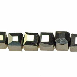 Crystal - Cube Beads   Silver   4x4