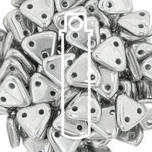 CzechMates 2 Hole  Triangle Bead Matte Metallic Silver 6mm