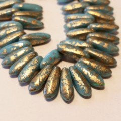 Czech Glass Dagger Beads  BlueGold Venetian