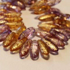 Dagger Beads Crystal Pink Gold
