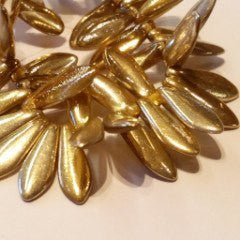 Czech Glass - Dagger Beads Light Gold