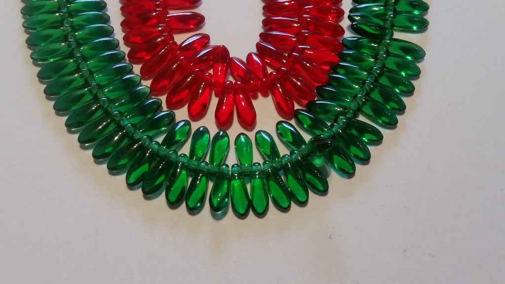 Czech Glass Dagger Beads   Red / Green