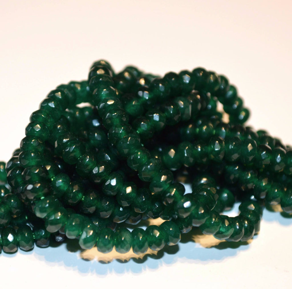 Faceted Dk Green Dyed Jade