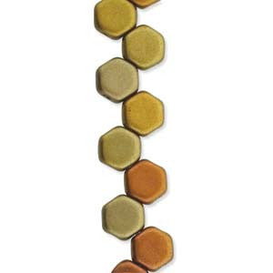 Honeycomb  Beads Crystal Gold Rainbow