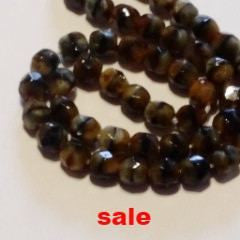 Fire Polish Beads  Tortise  4mm