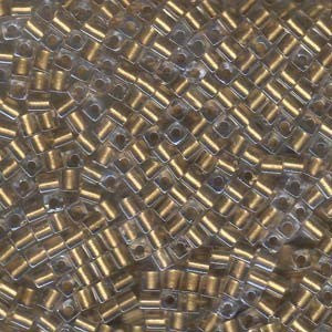 Seed Bead - Cubes 3mm  Met Gold Lined Crystal