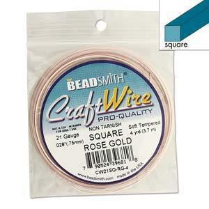 Square Wire - Square Wire Rose Gold   21 Gauge