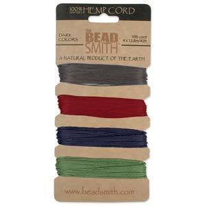 Stringing Material - BeadSmith Dark Colors Hemp Cord Assortment Pack