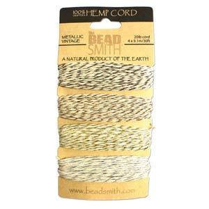 Stringing Material - BeadSmith Metallic Vintage Hemp Cord Assortment Pack