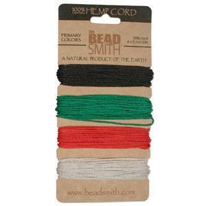 Stringing Material - BeadSmith Primary Colors Hemp Cord Assortment Pack 20lb