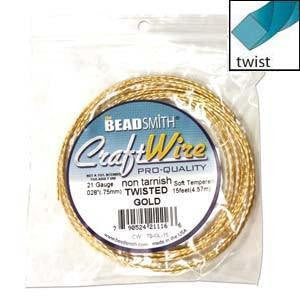 Wire - Twisted Wire Square Gold  21 Gauge