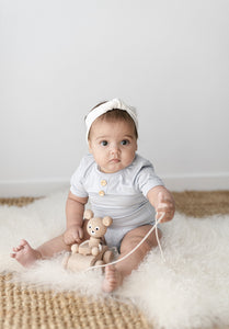 Two Darlings - Basics Short Sleeve Bamboo Bodysuit - Pale Blue