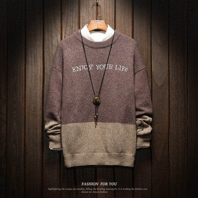 Men's casual fashion loose knit sweater