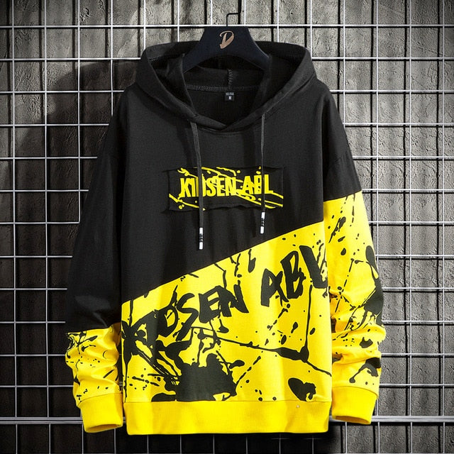 Men's casual fashion loose printed hoodie