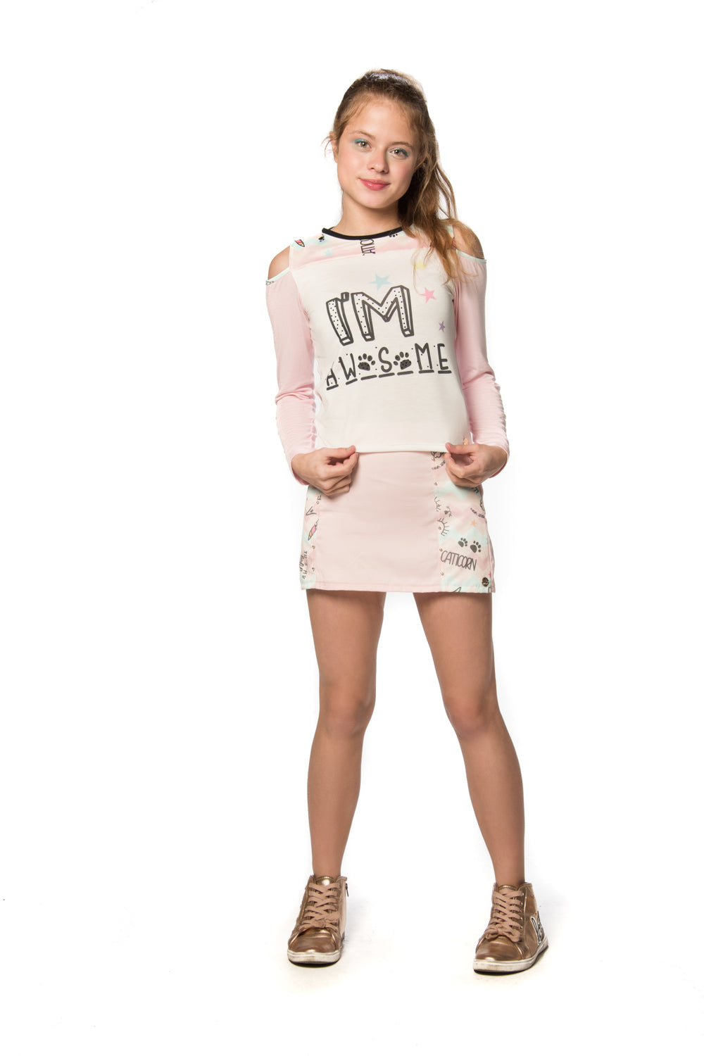 Blusa Mc Open Shoulder Decote Estampado