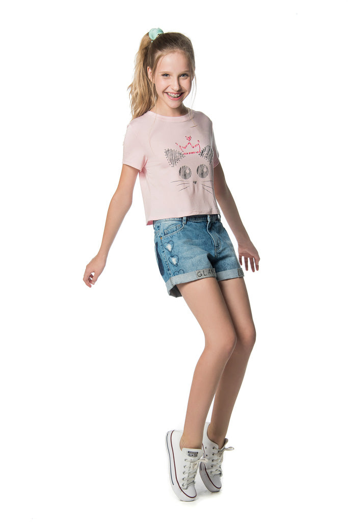 Short Tp Jeans Bordado Coracao