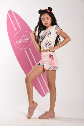 Short Rosa Com Recortes Estampado