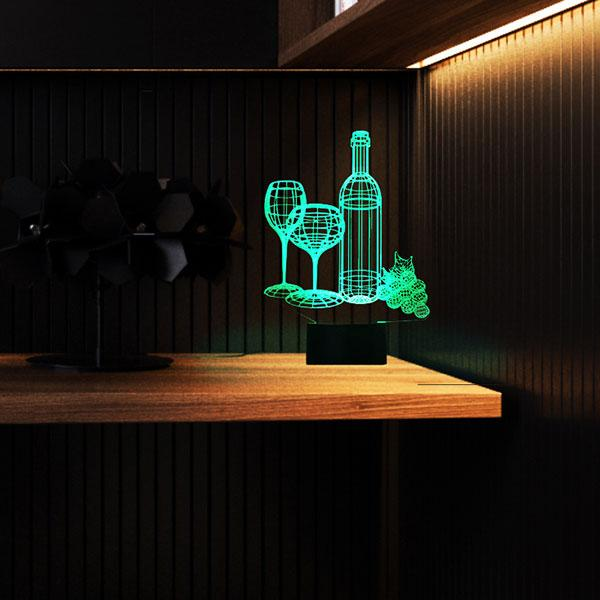 Wine 3D Colorful Lamp