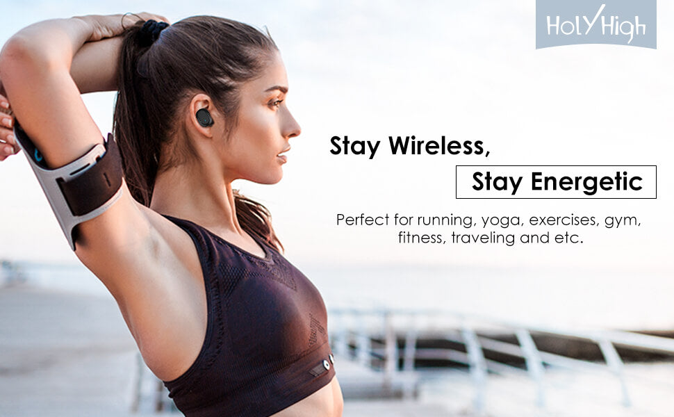 woman excesising with wireless earphone